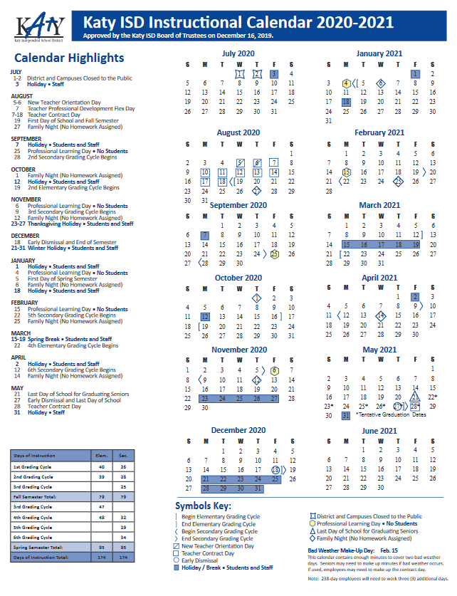 2020-2021 Katy ISD Instructional Calendar